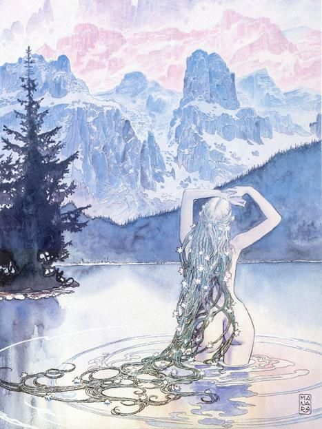 water nymph with flowers in long hair and braids, pink and ...