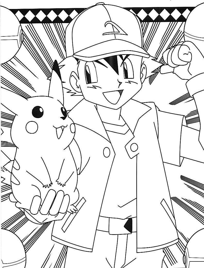 Pokemon ash pikachu coloring pages  Pokemon coloring pages