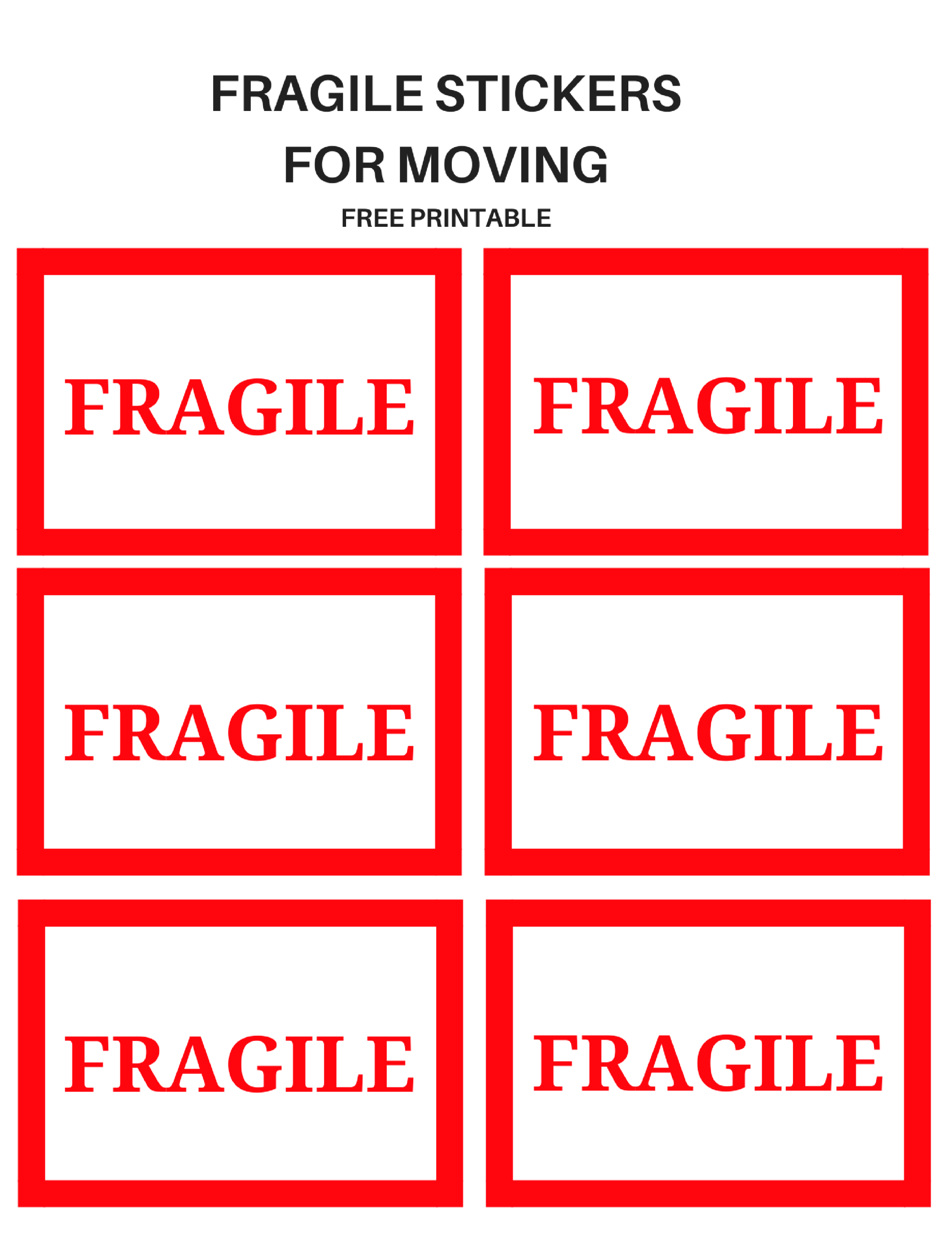graphic relating to Fragile Printable called Delicate Going Stickers Shifting within 2019 Transferring labels