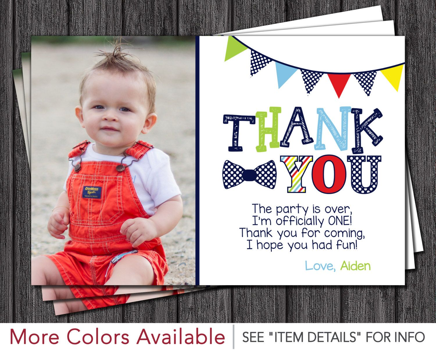 Mr. ONEderful Birthday Thank You Card - Mr One-derful Birthday Thank You Cards - First Birthday Thank You Card by PuggyPrints on Etsy