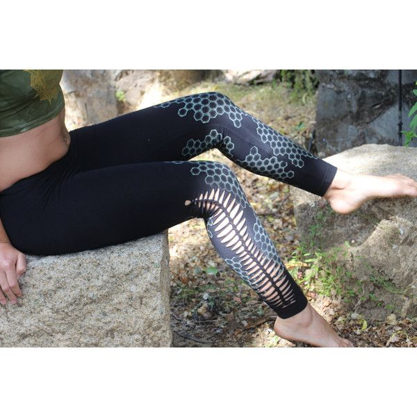Honeycomb Cutty Creations Leggings ($62) ❤ liked on Polyvore featuring pants, leggings, black, women's clothing, leggings yoga pants, yoga leggings, rose jersey, yoga pants and glow in the dark pants