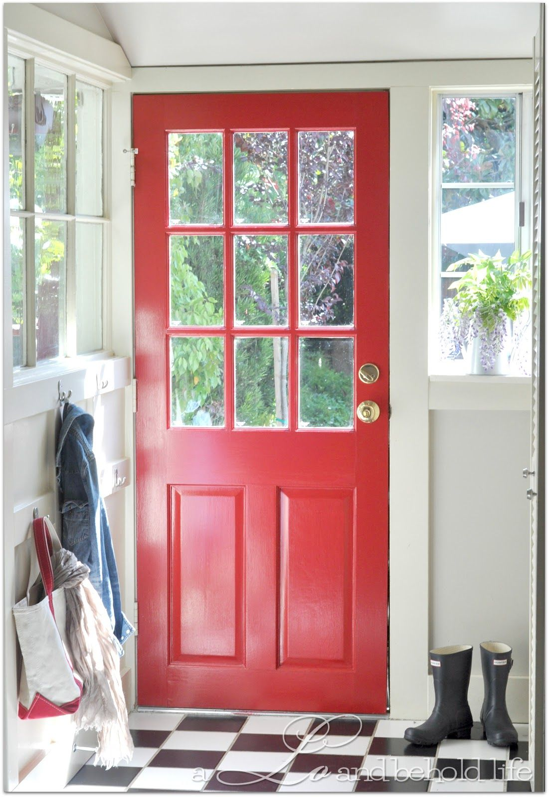 Benjamin Moore Flamenco Red Kitchen Door via a LO and behold life ...