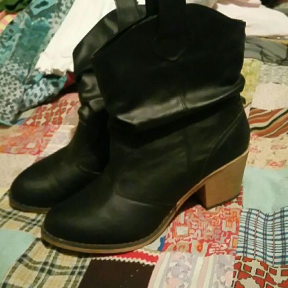 NWOT Ladies black leather boots Black new leather boots Shoes Heeled Boots
