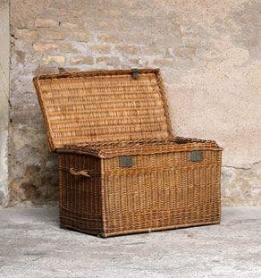 Malle Osier Rotin Ancienne Coffre Jouet Maison Deco Pinterest - Coffre en osier pas cher pour idees de deco de cuisine