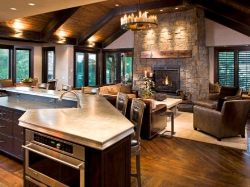 Amazing Open Concept Kitchen Living Room Designs Rustic Home Interiors Rustic Family Room Rustic House