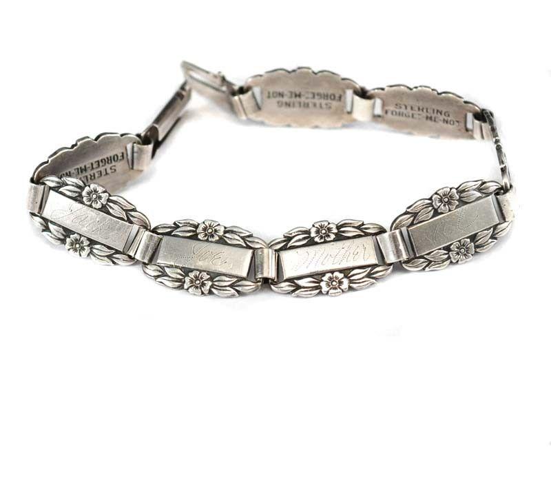 Sterling Silver WWII Forget-Me-Not  Bracelet charm  Link blank buffed