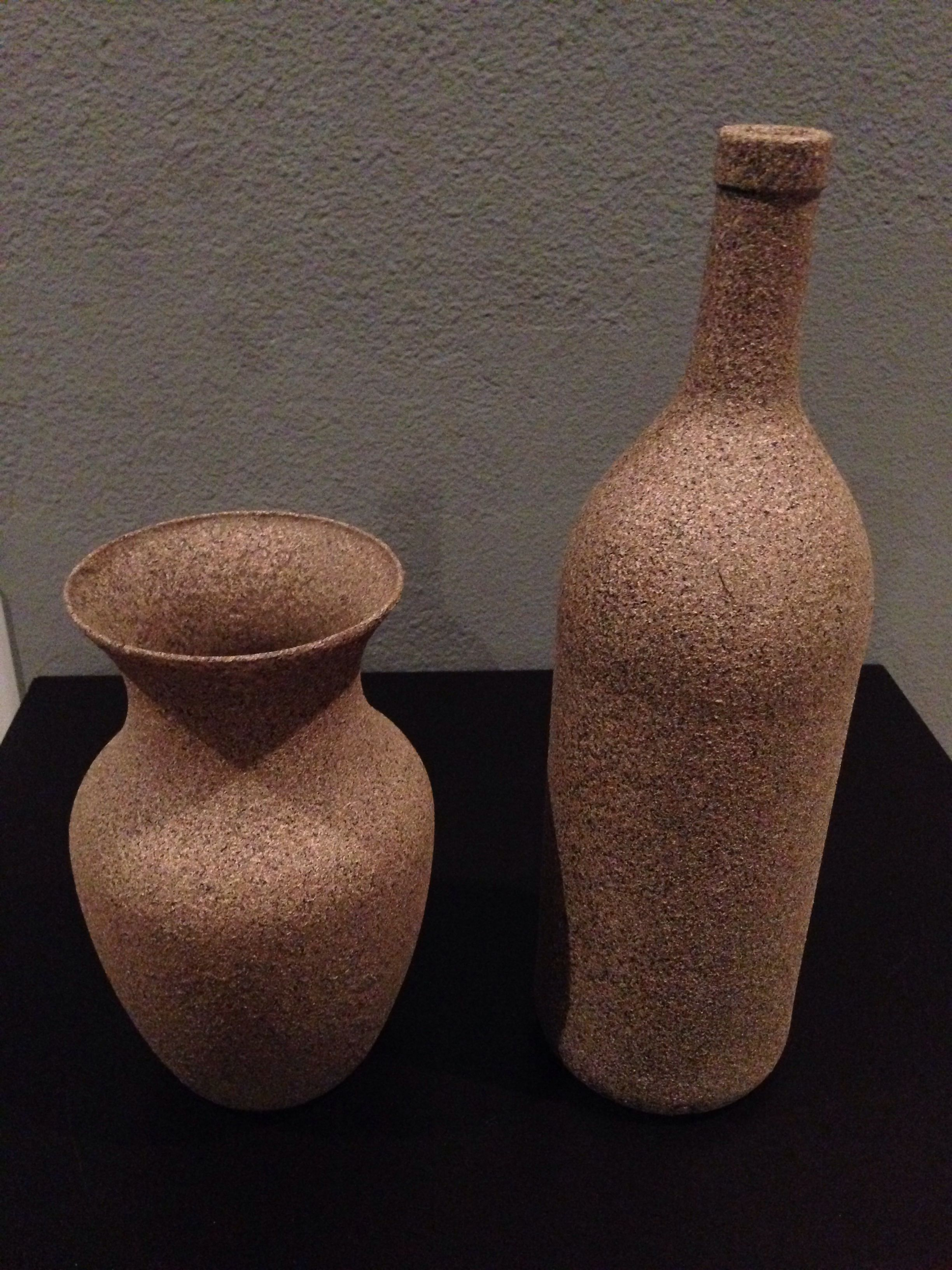 Spray Painted Stone Texture Glass Vase And Wine Glass Stone Spray Paint Whiskey Bottle Crafts Textured Spray Paint