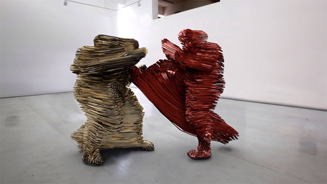 """or water splashing. Each one preserving the moment of impact or action—what he calls """"states where rest and motion exist together""""—in an abstracted sculpture born from a computer simulation of the event."""