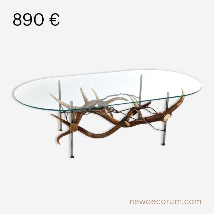 Table Basse Nature Bois De Cerf Et Metal Acier Bois De Cerf Table Basse Verre Table Basse
