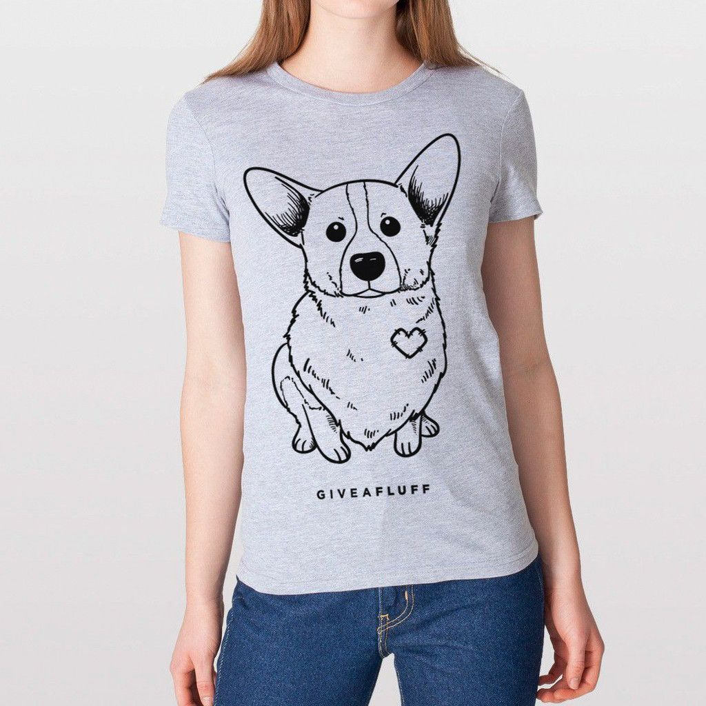 Give A Fluff Corgi Patched Hearts Women's T-shirt.