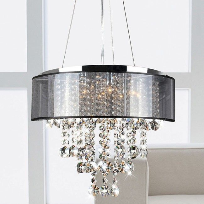 Visalia Chrome And Translucent Black Shade 9 Light Crystal Chand Lighting Crystals Lights