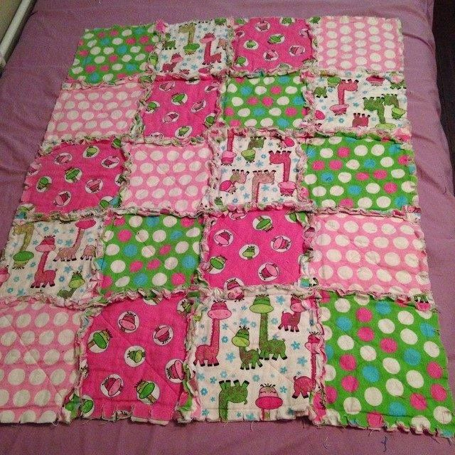 pink and green flannel quilt. Crib/stroller/car seat size. Contact ... : stroller quilt size - Adamdwight.com