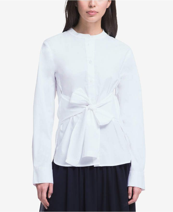 da378b0846179f Sleeve Dresses for Women - Macy s. DKNY Mandarin-Collar Tie-Waist Shirt