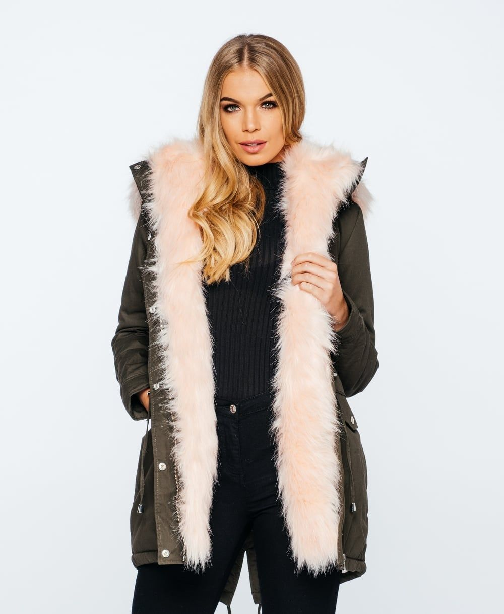 Pink Faux Fur Lined Parka Coat | Parisian Wholesale AW16 | Winter ...