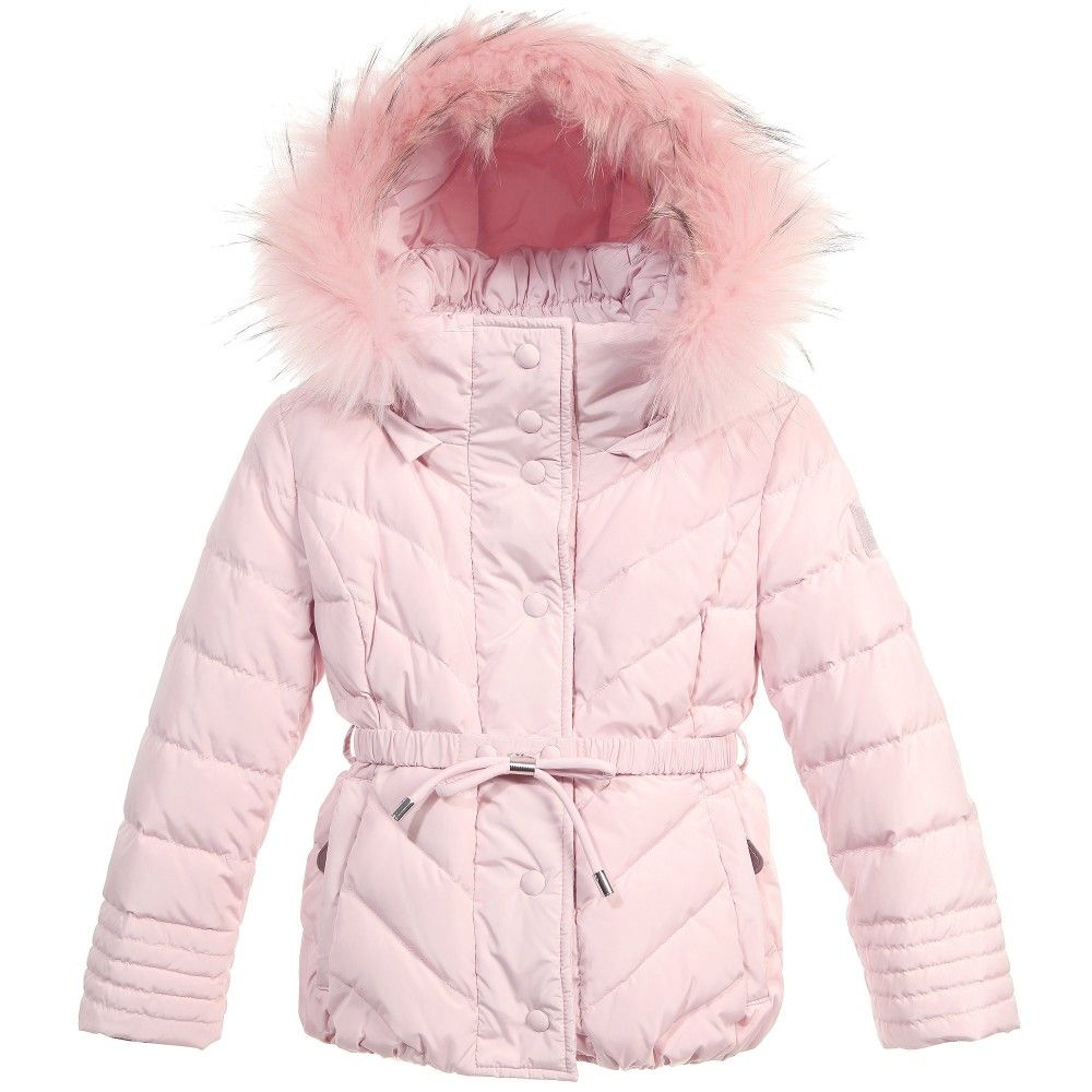 Dior Baby Girls Pink Down Padded Coat With Detachable Fur Trim