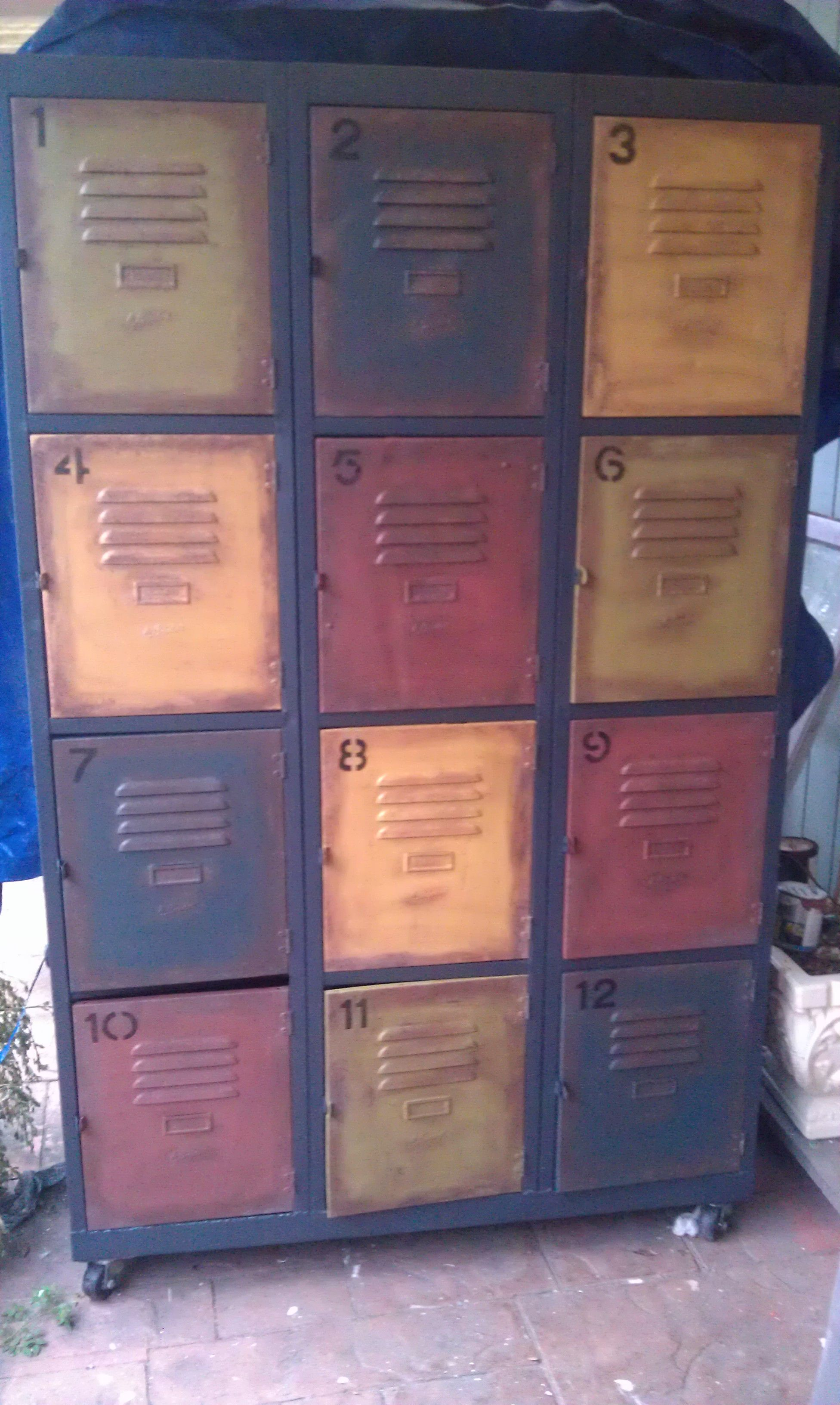 ORANGE VINTAGE LOCKERS. Would love these in my laundry room ...