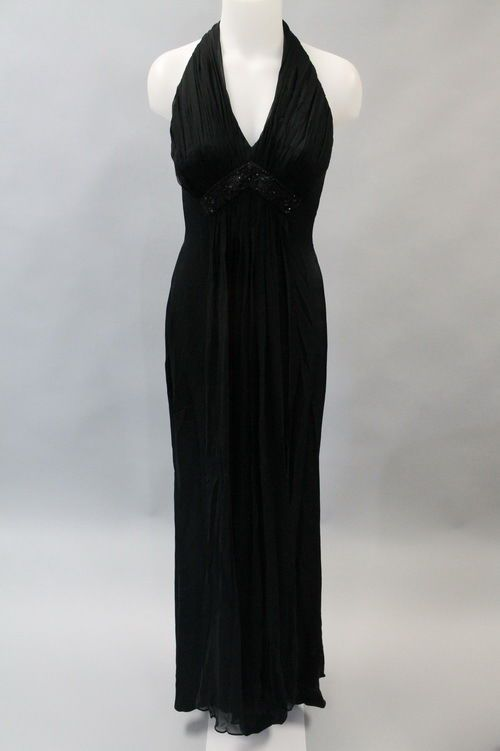 MARCHESA NOTTE Black Silk Beaded Embellished Halter Evening Gown Sz 4
