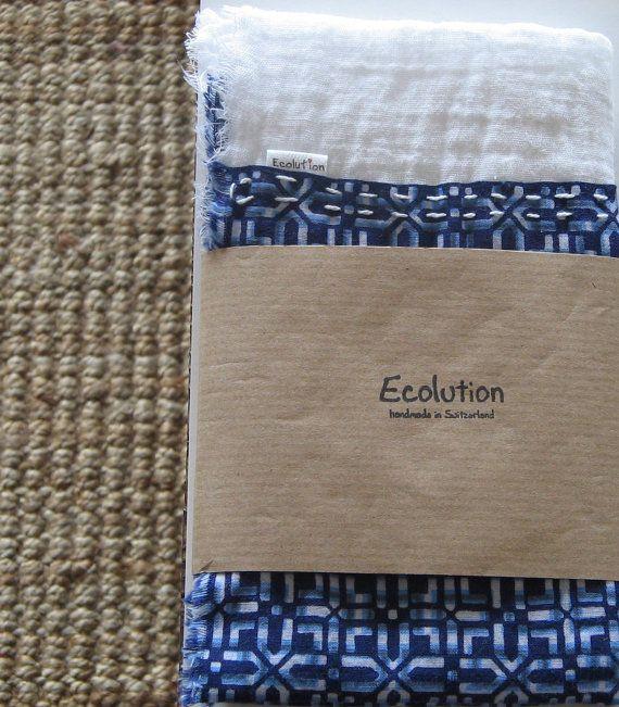 Indigo blue white summer Scarf. Handmade geometrical by Ecolution, $21.00