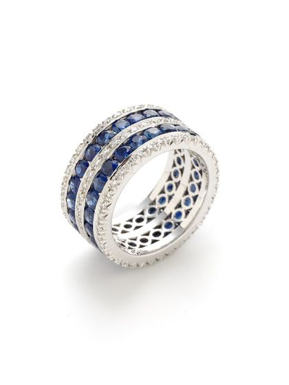 Channel Set Sapphire & Diamond Multi-Row Ring by Favero on Gilt.com