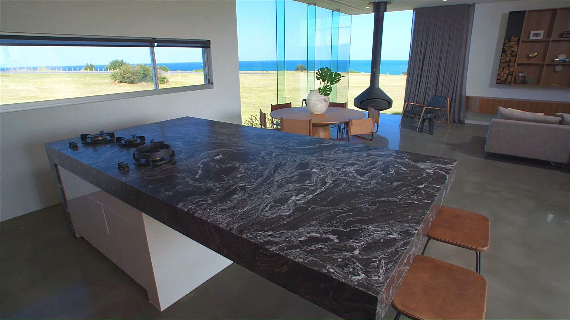 Dicker Granit Arbeitsplatte Kucheninsel Mit Angeschlossenem Herd Dengan Gambar