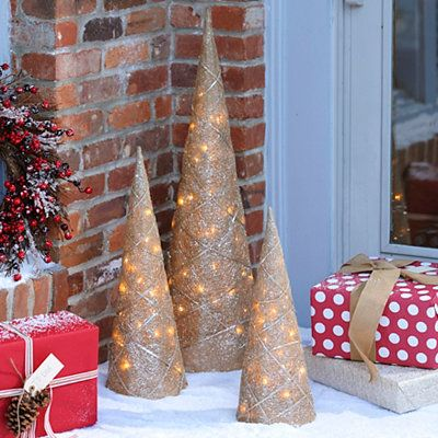 Pre-Lit Champagne Cone Trees, Set of 3; $6999 MERRY CHRISTMAS