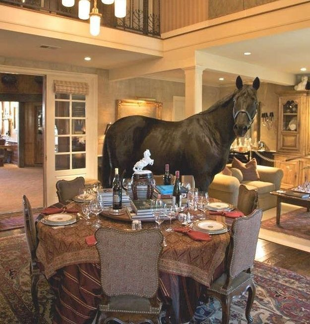 16 Crazy Things Rich People Havelike A Horse In The Dining Room