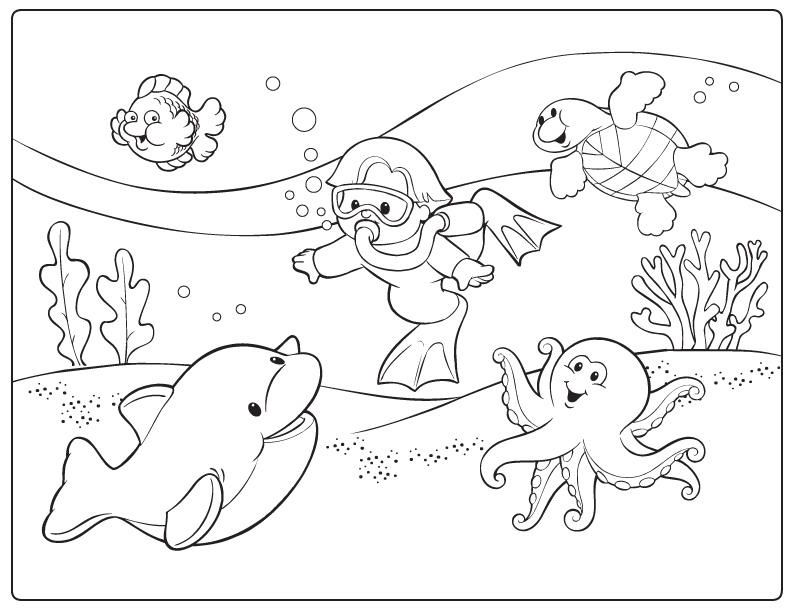traveled to bottom ocean in summer coloring picture for kids
