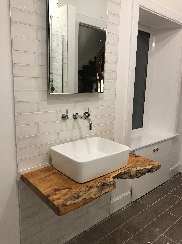 Rustic Vanity Basin Character Natural Wood Shelf Countertop Live Edge Vanity Basin Rustic Vanity Small Bathroom Decor