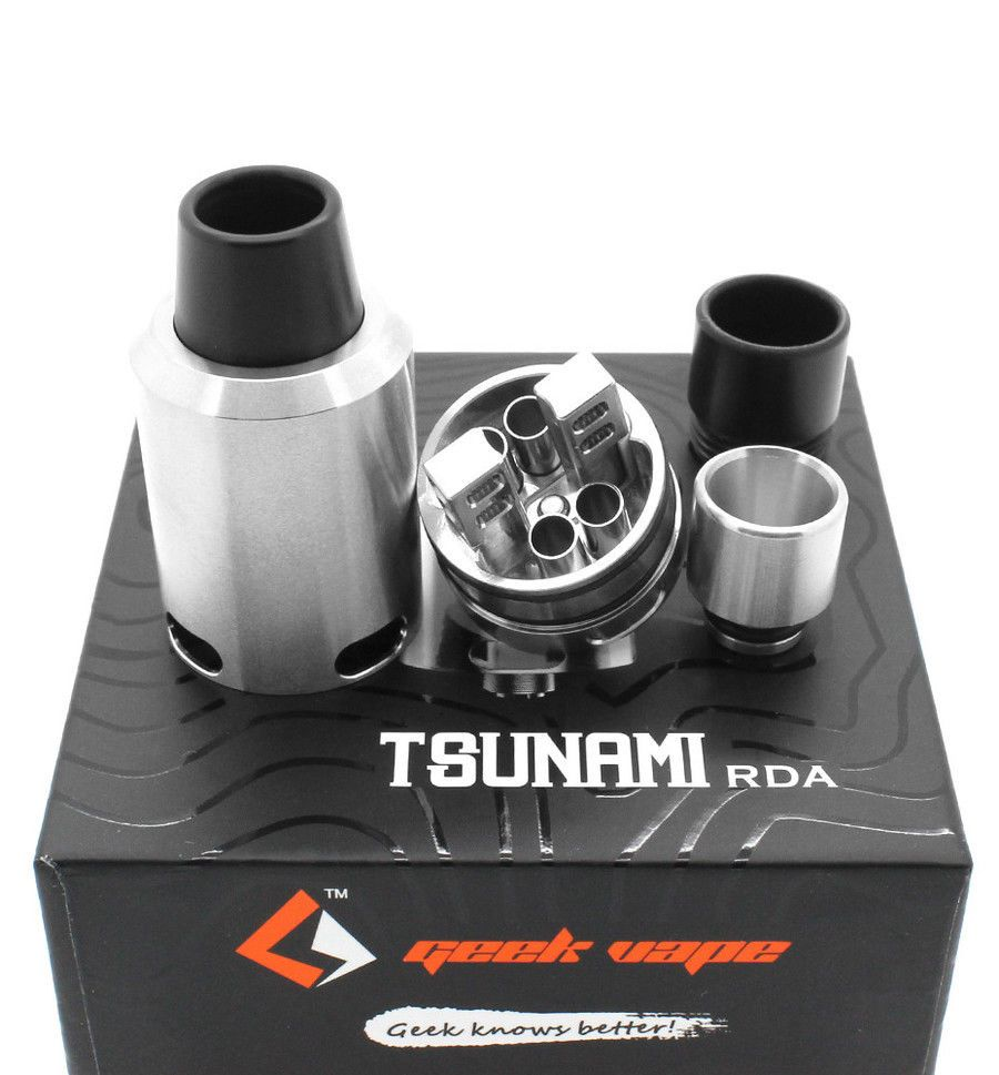 Tsunami Rda Black Or Stainless Steel By Geek Vape 100 Authentic Goon Styled 22mm Rebuildable Dripping Atomizer Free Shipping Geekvape
