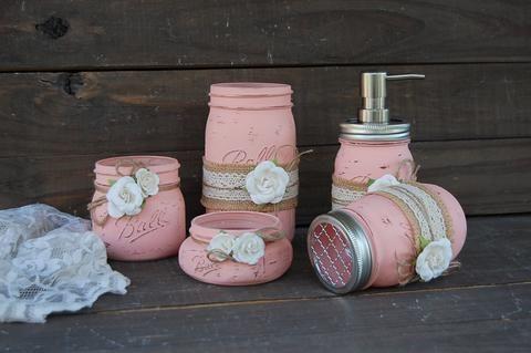 Photo of Ivory & pink soap pump set