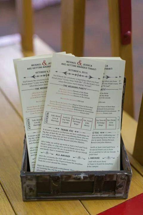 DIY wedding programs printed on cardstock