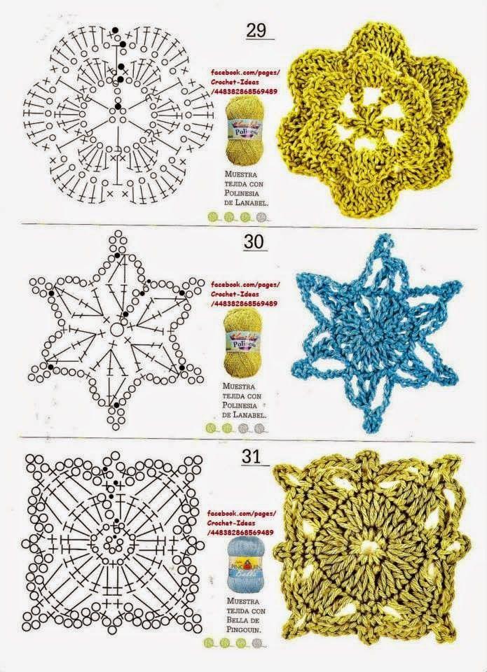 Como hacer módulos y flores en crochet | -- CROCHET -- | Pinterest
