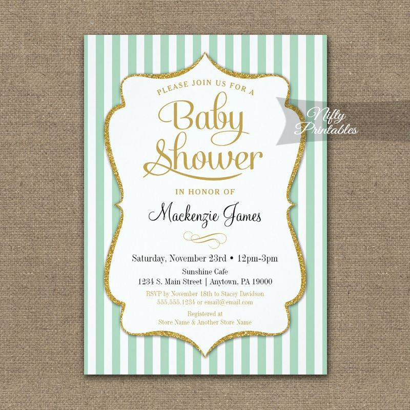 Mint Green Gold Baby Shower Invitation Elegant Stripe PRINTED | Gold ...