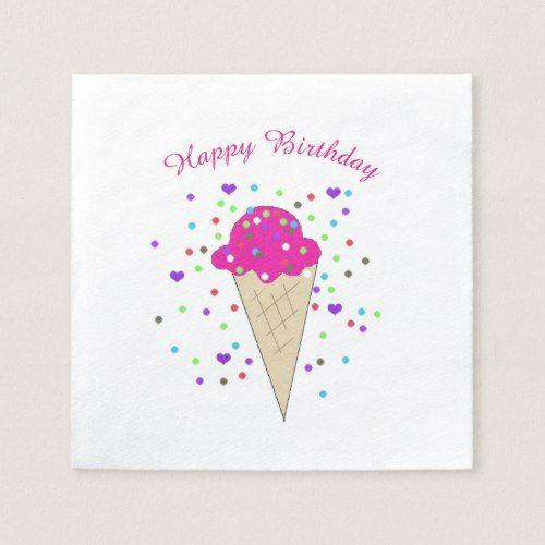 Confetti Pink Ice Cream Paper Napkin Custom Personalized Confetti - confeti