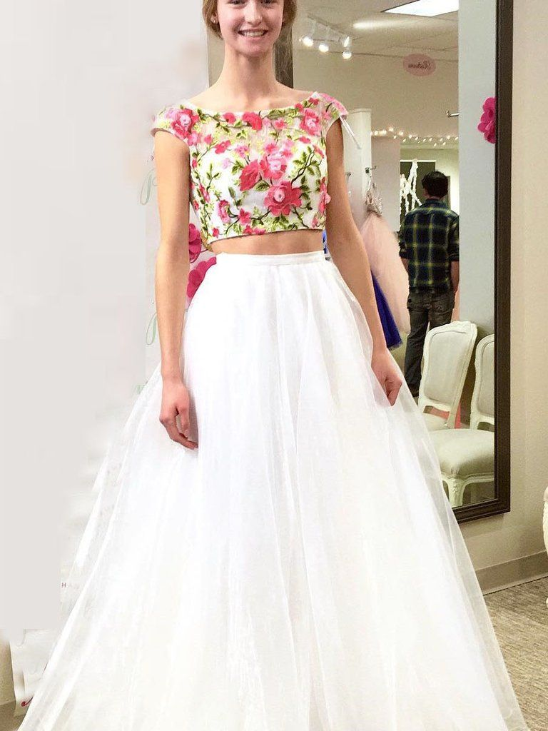 Two piece prom dresses bateau aline sexy embroidery long prom dress