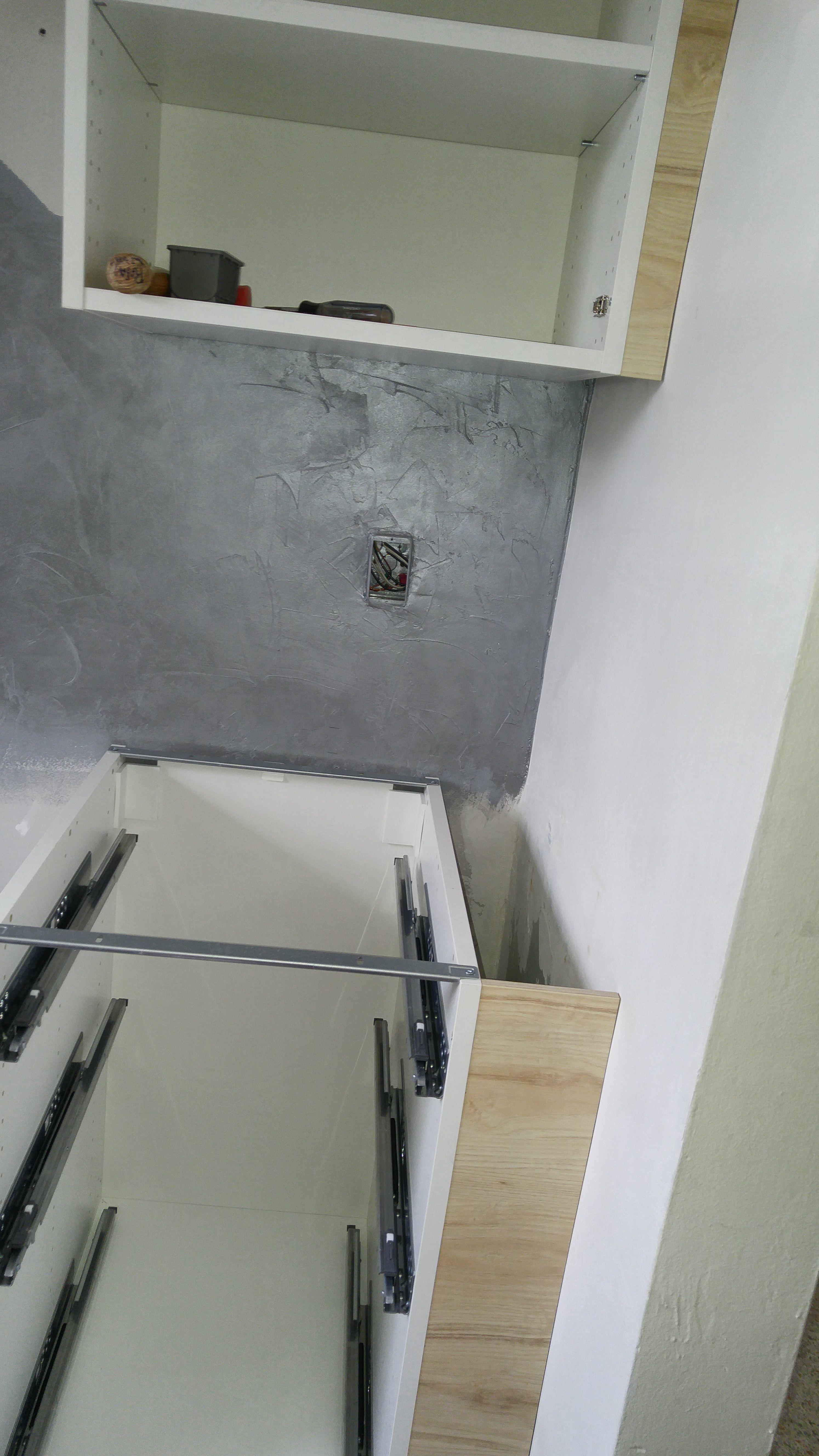 - Ikea Cabinets With Askersund Doors Going In. Venetian Plaster