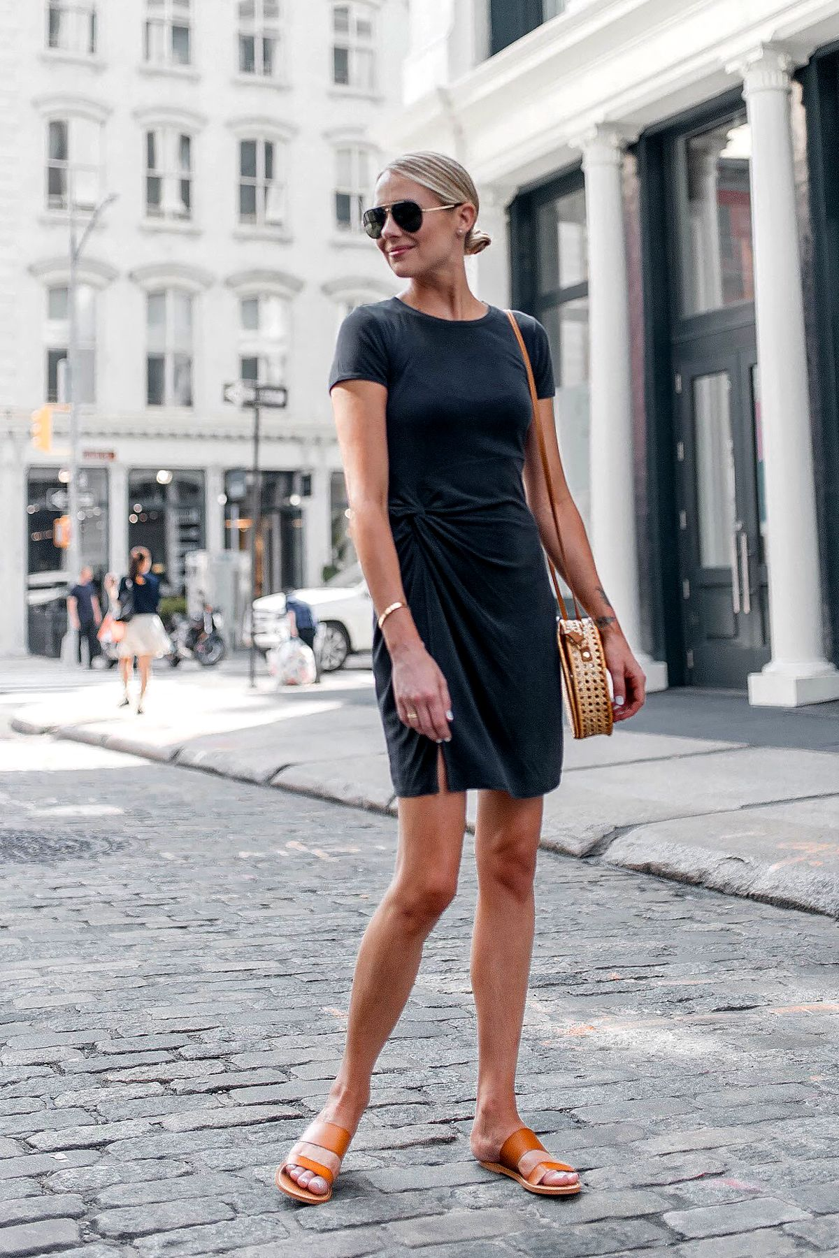 d7d59f3669f Blonde Woman Wearing Abercrombie Grey Knot Front Tee Dress Tan Slide  Sandals Aviator Sunglasses Fashion Jackson Dallas Blogger Fashion Blogger  New York ...
