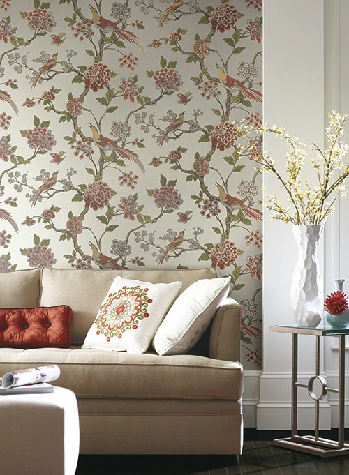 Fanciful Floral Wallpaper in Cream and Yellow by A
