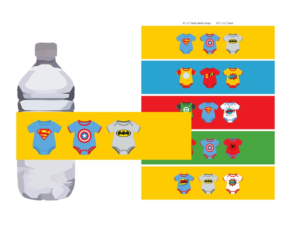 Superhero Baby Shower Water Bottle Labels, Bottle Wrapper, Instant  Download, Batman Baby Shower