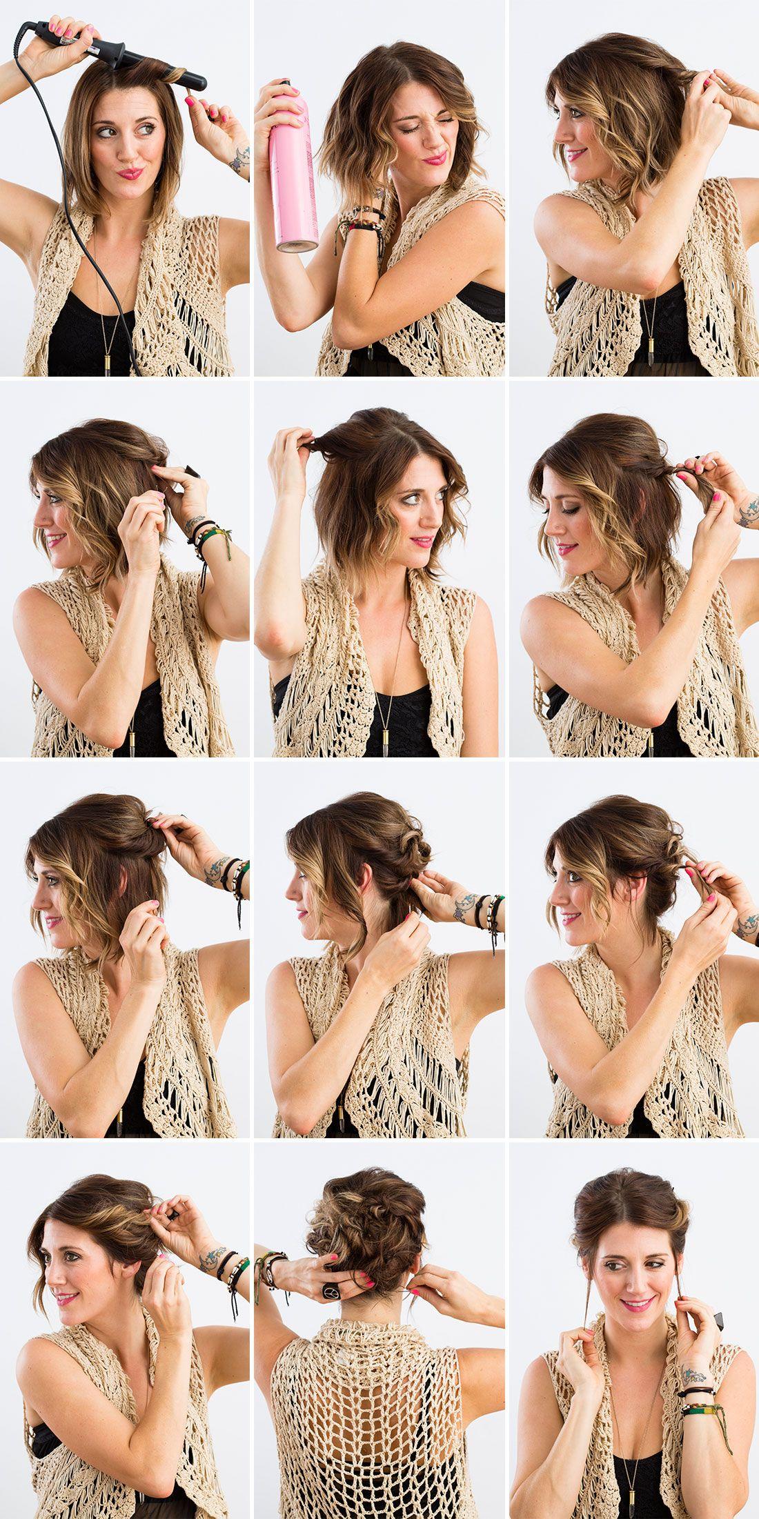 3 Fancy Updos For Short Hair Short Hair Styles Hairdos For Short Hair Short Hair Updo