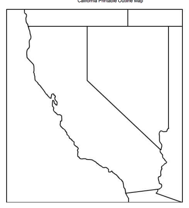 photograph about California Outline Printable referred to as This is a blank define map of California and its
