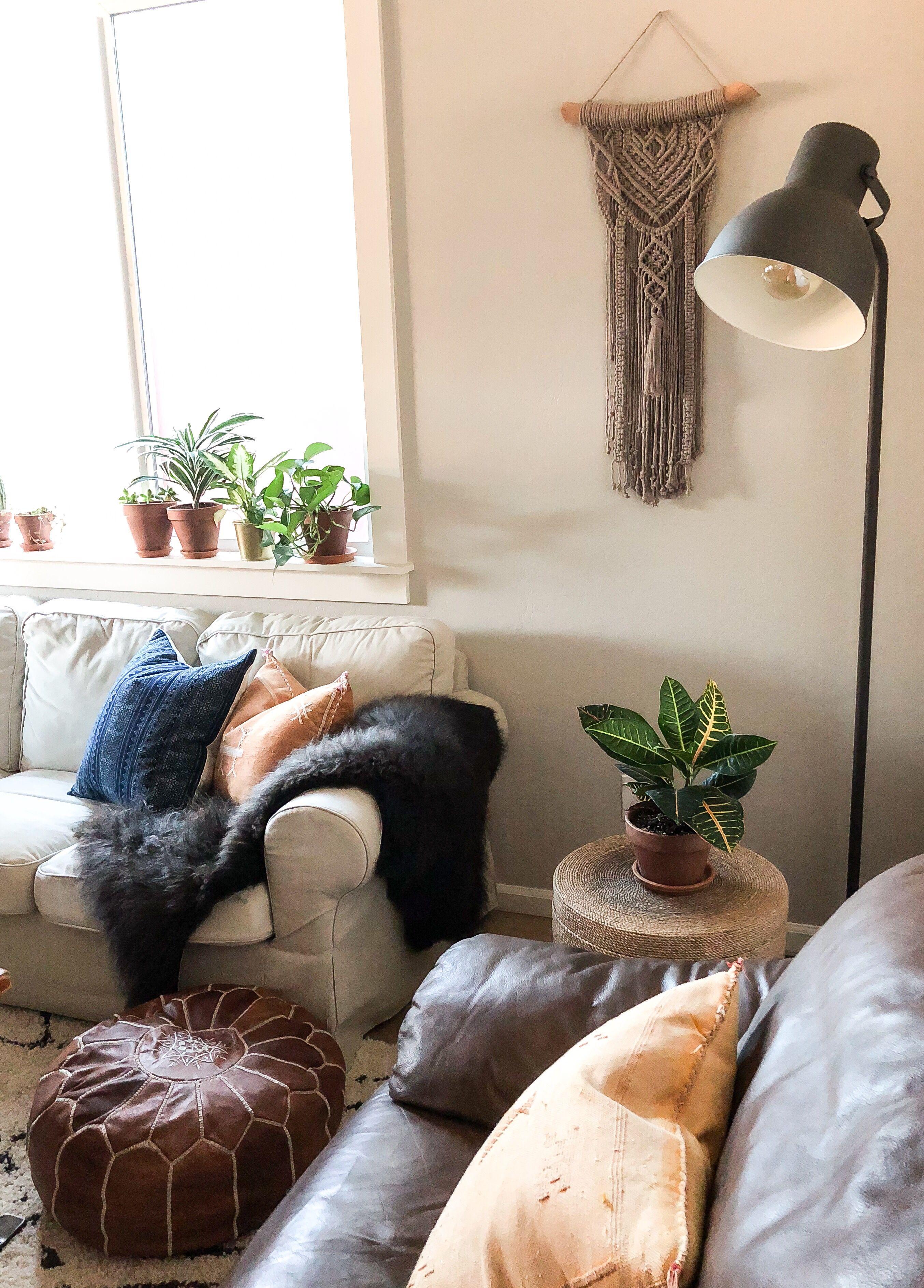 Boho living room complete with custom macrame wall hanging ...