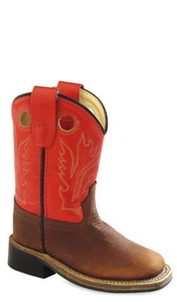 1f18ab389dd Old West Orange Toddler Boys Leather Broad Square Toe Cowboy Boots ...