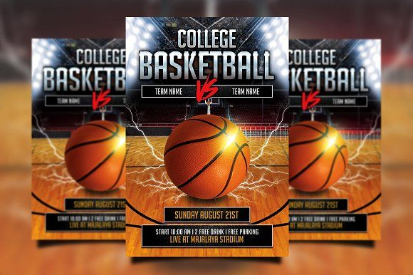 College Basketball Flyer By Gayuma On Creativemarket  Awesome