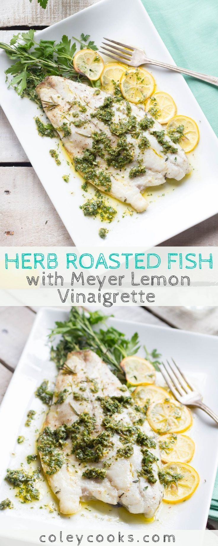 This easy recipe for Herb Roasted Fish with Meyer Lemon Vinaigrette is an easy, healthy recipe that can be made in 20 minutes! Adaptable to many different types of fish. |
