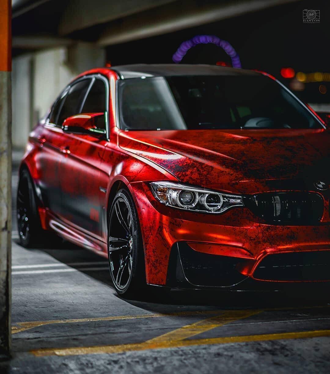 BMW F80 M3 Custom Wrap On Satin Chrome Red Vinyl