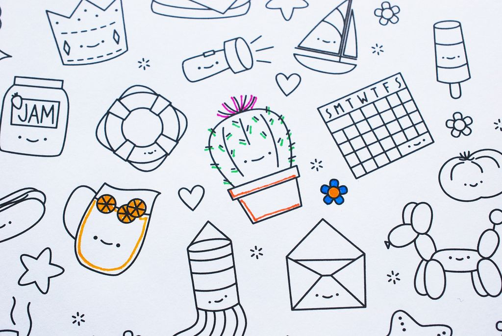 Hexagon Tinies // Printable Coloring Picture   activities & games ...