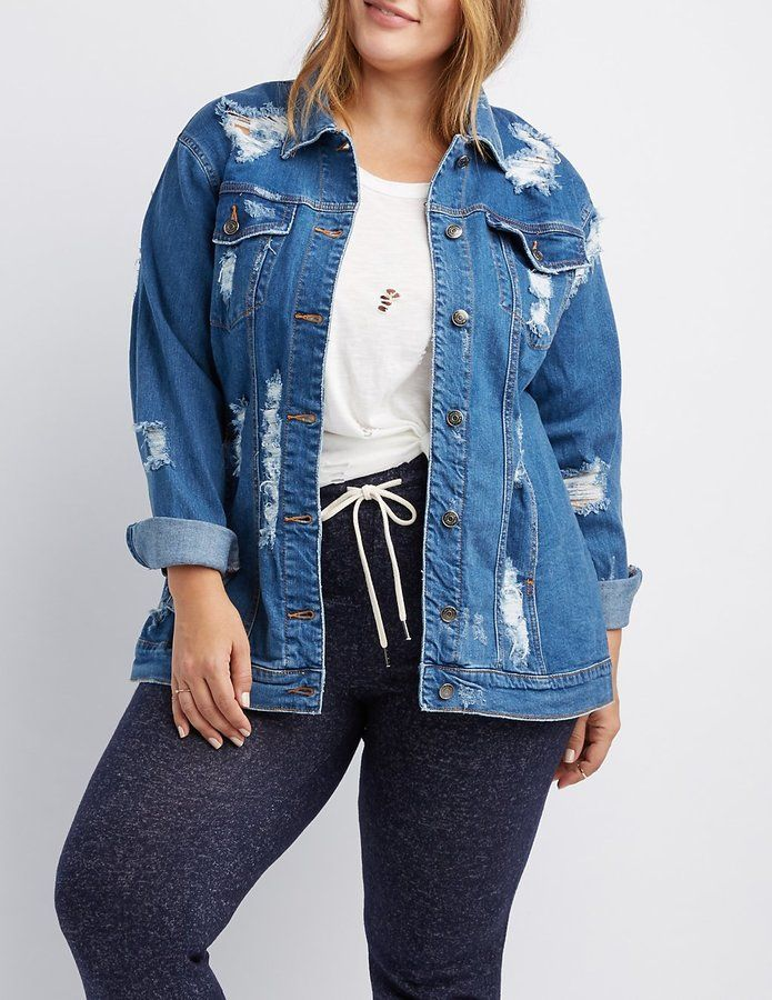 a882dcee6d5 Charlotte Russe Plus Size Cello Destroyed Denim Jacket Plus Size Distressed  Jeans