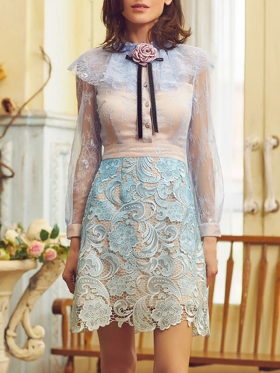 Lace dress with cape  Blue Cape Detail Sheer Sleeve Rose Embellished Lace Dress  II