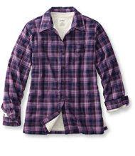 dcce77ab16544 LL Bean Women s Fleece-Lined Flannel Shirt. Warm   Purple.